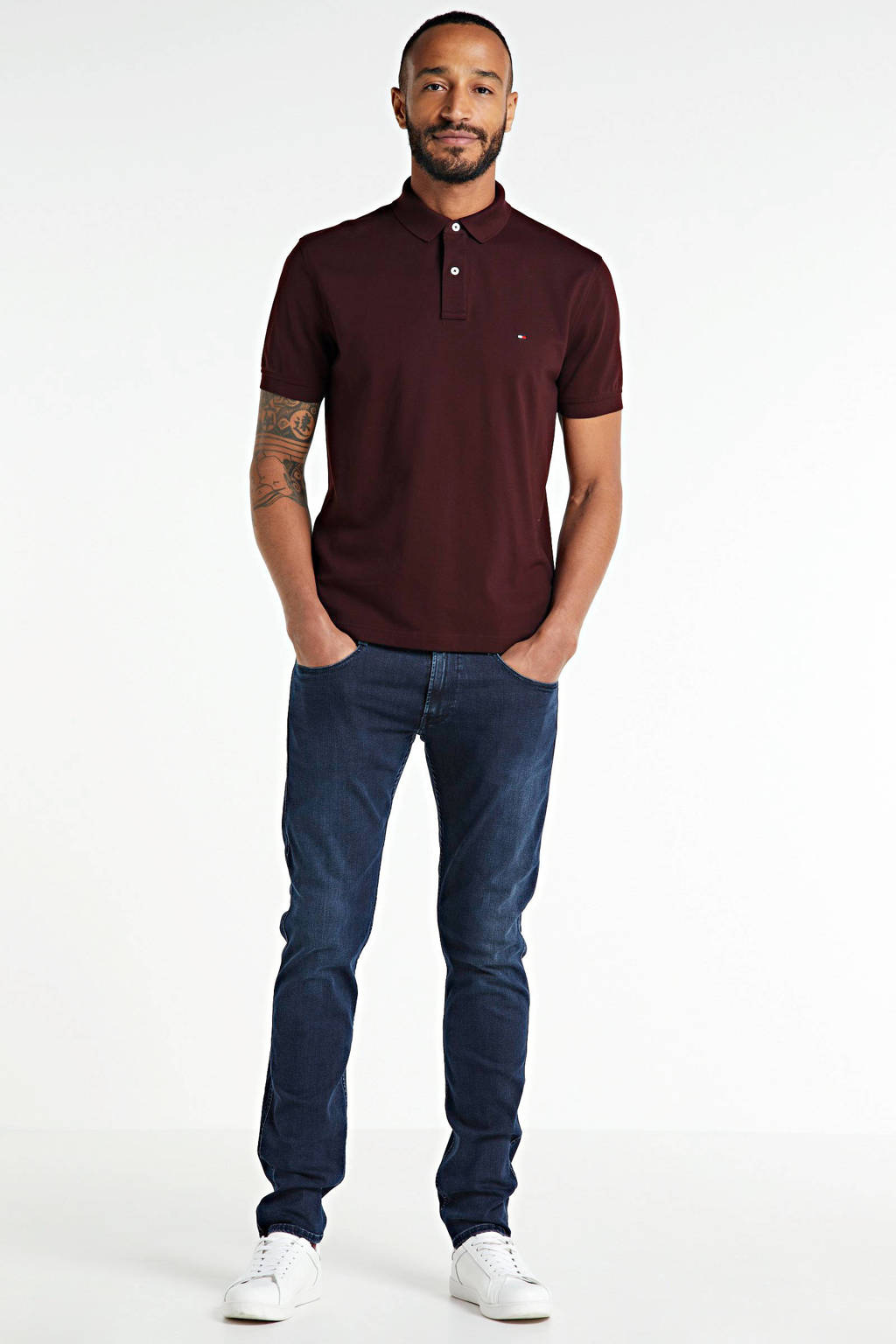 Tommy Hilfiger regular fit polo donkerrood, Donkerrood