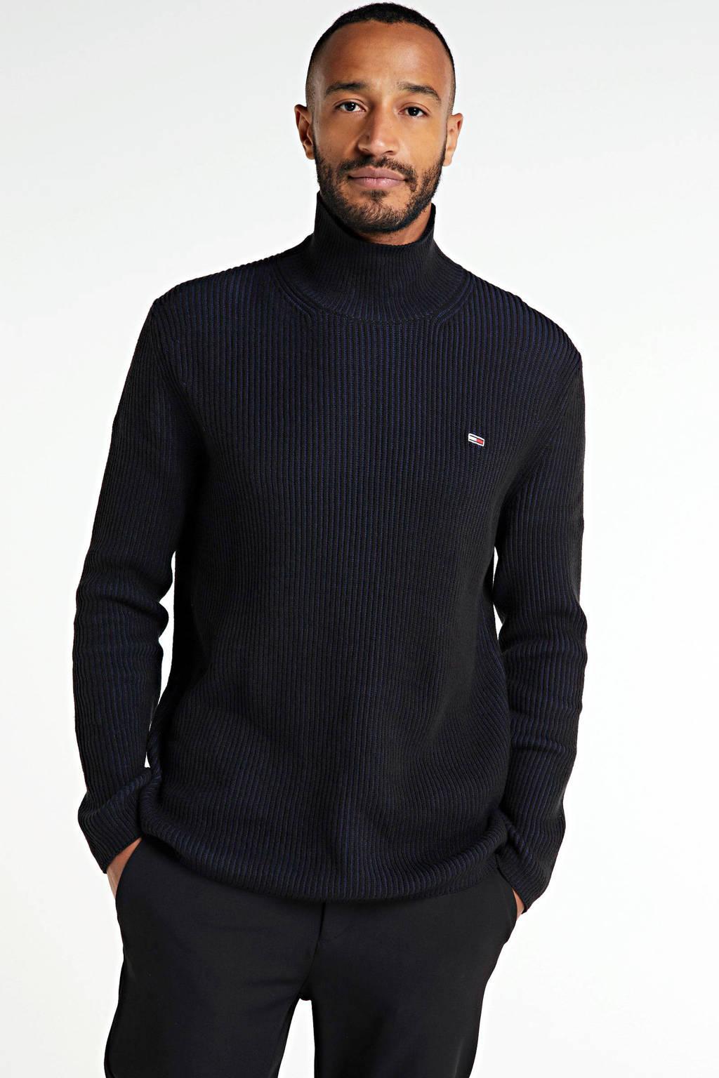 Tommy Jeans ribgebreide coltrui zwart, Zwart