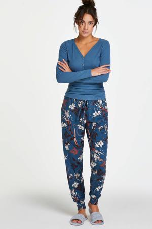 gebloemde pyjamabroek blauw
