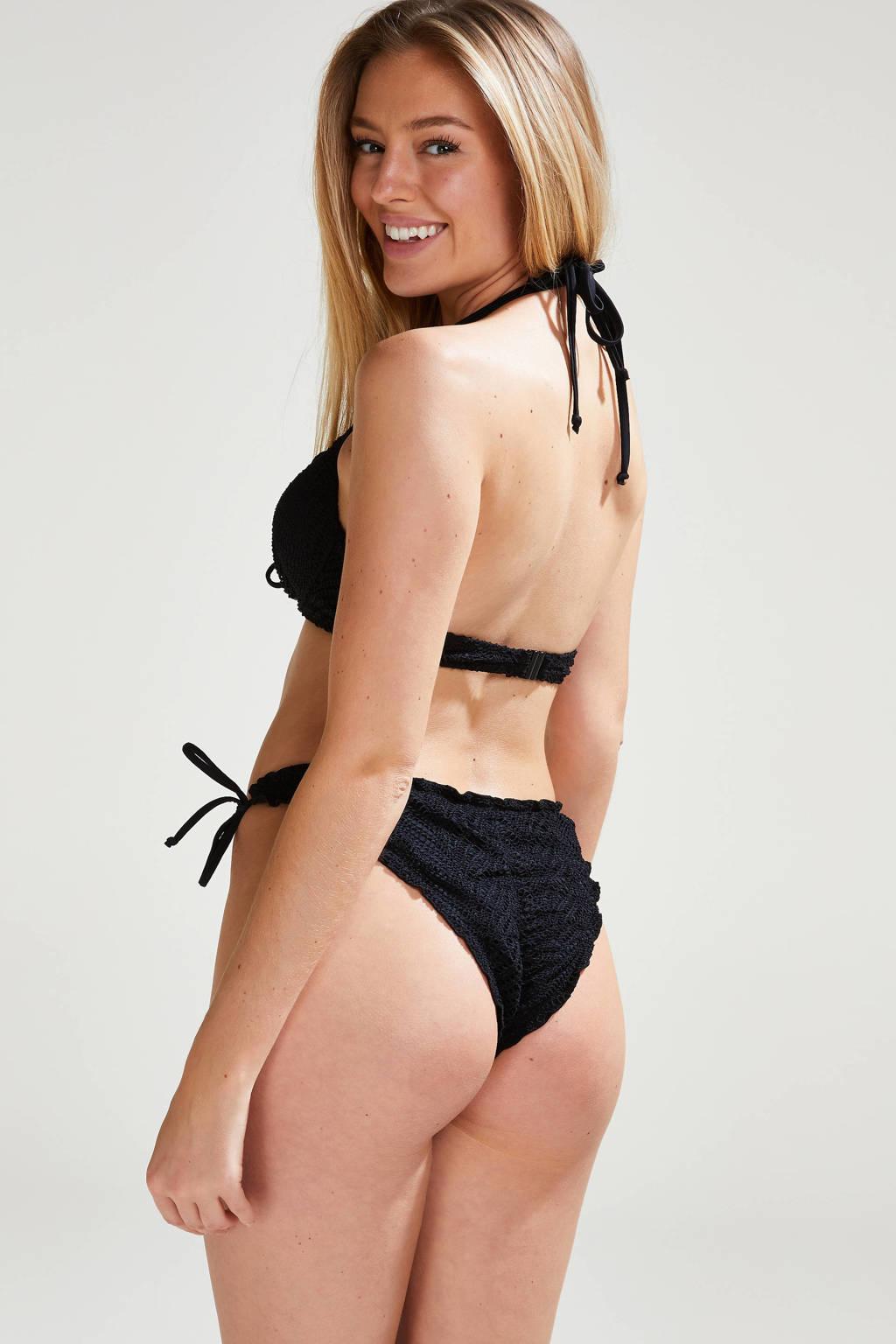 Hunkemöller crochet strik bikinibroekje zwart, Zwart