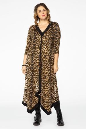 jurk met panterprint en plooien bruin/zwart
