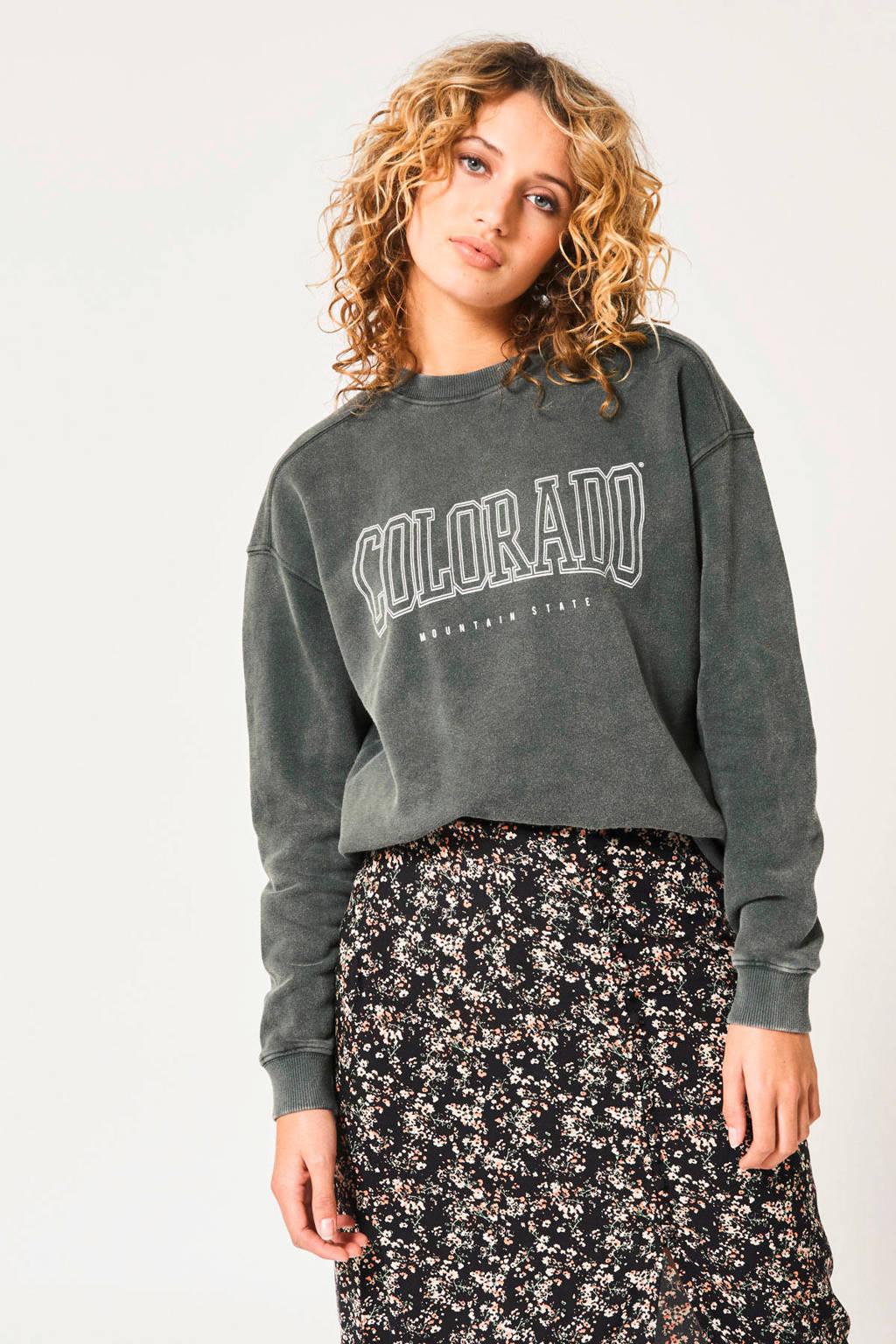 America Today sweater Savannah met tekst washed grey, Washed grey