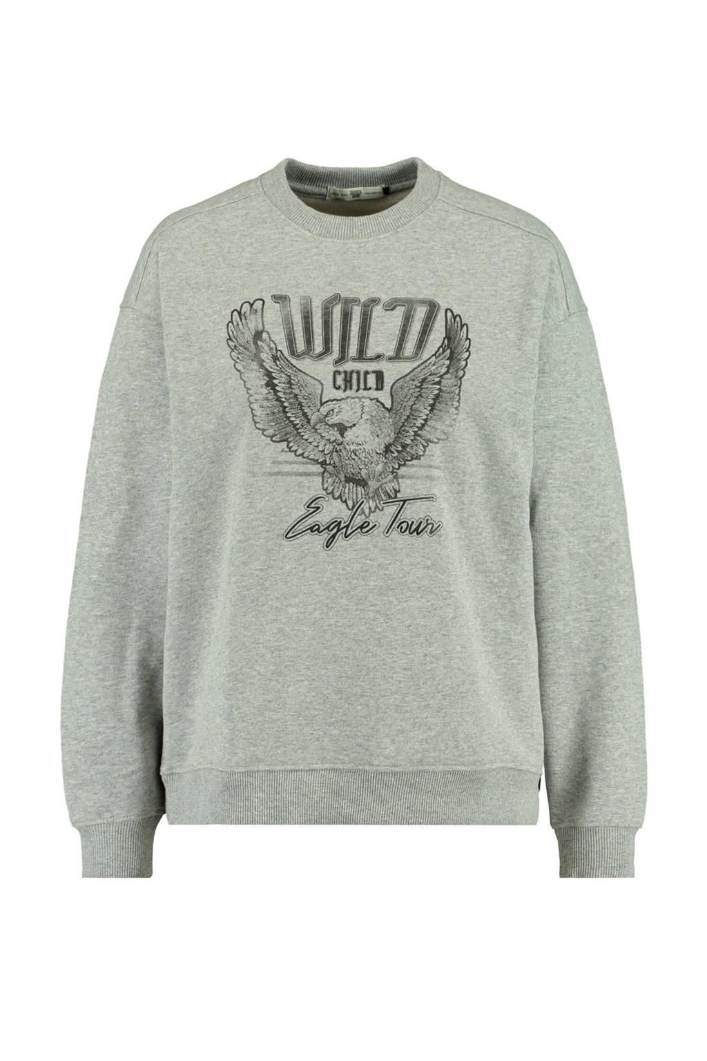 America Today sweater Savannah met tekst mid grey melange