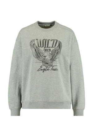 sweater Savannah met tekst mid grey melange