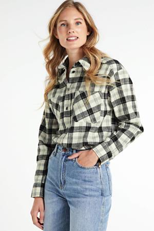 geruite blouse Bobby zwart/wit