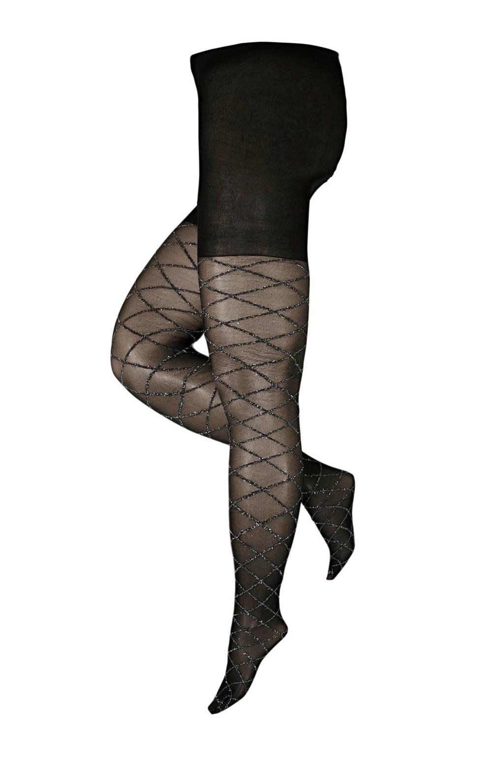 Pamela Mann super curvy + size panty Argyle 30 denier zwart/zilver, Zwart/zilver