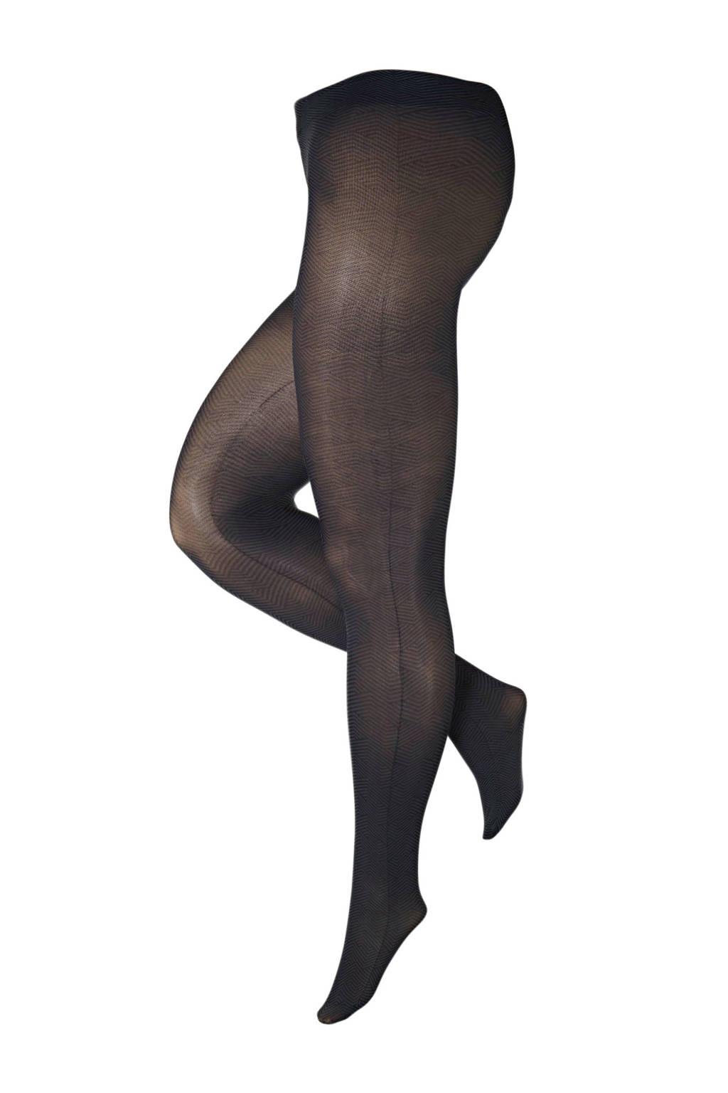 Pamela Mann super curvy + size panty Zigzag 50 denier zwart, Zwart