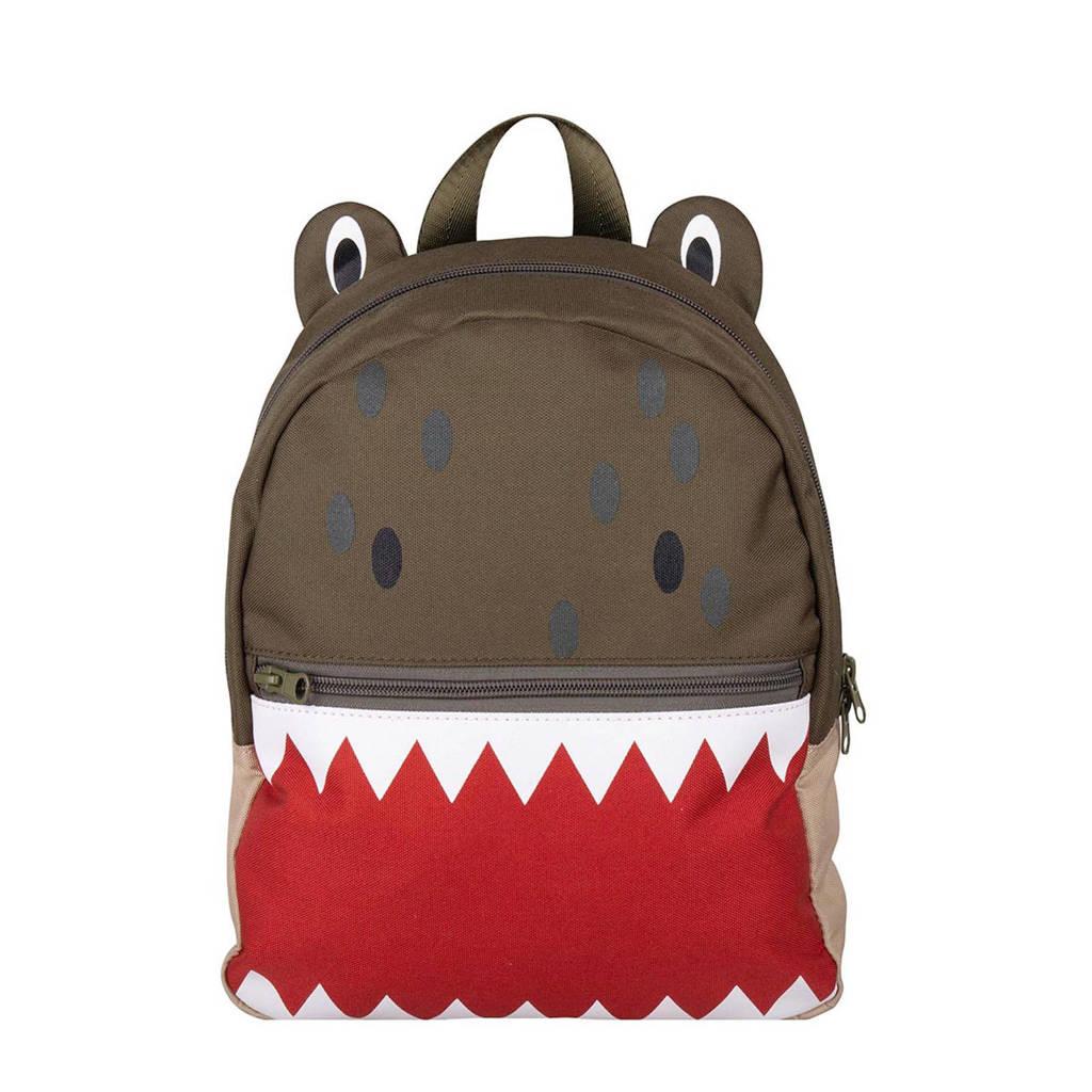 The Little Green Bag rugzak Fauna Crocodil kaki/rood, Kaki/rood