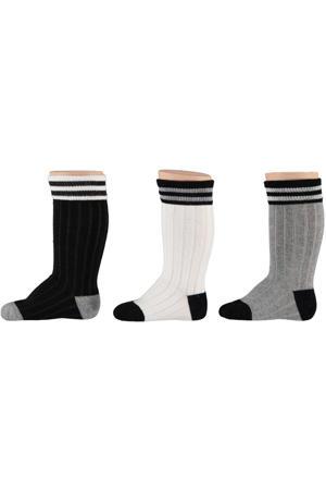 kniekousen - set van 3 zwart/wit/grijs