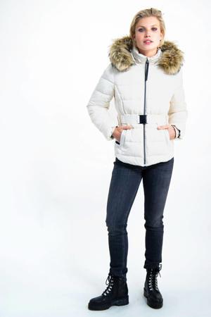 gewatteerde jas met ceintuur wit