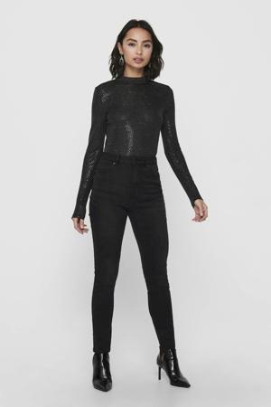 body Lilian met lage rug en pailletten zwart
