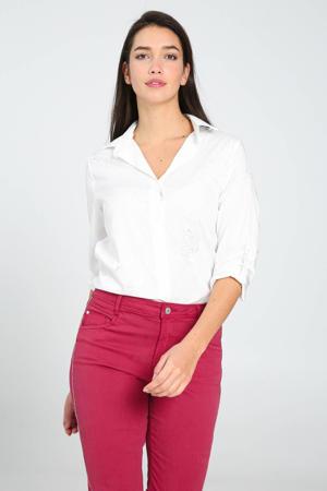 gebloemde geweven blouse ecru