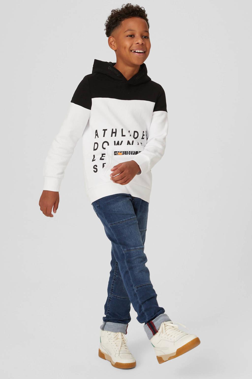 C&A hoodie met biologisch katoen wit/zwart, Wit/zwart