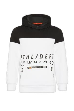 hoodie met biologisch katoen wit/zwart