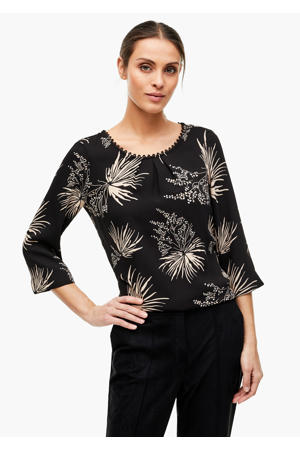 top met all over print zwart/beige