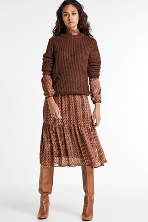 gemêleerde gebreide trui Drooke bruin