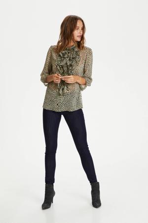 blouse Lilly met dierenprint en ruches donkergroen