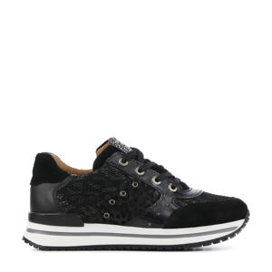 41202  leren sneakers zwart