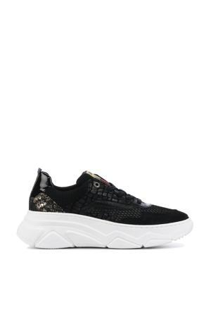 13044  leren sneakers zwart