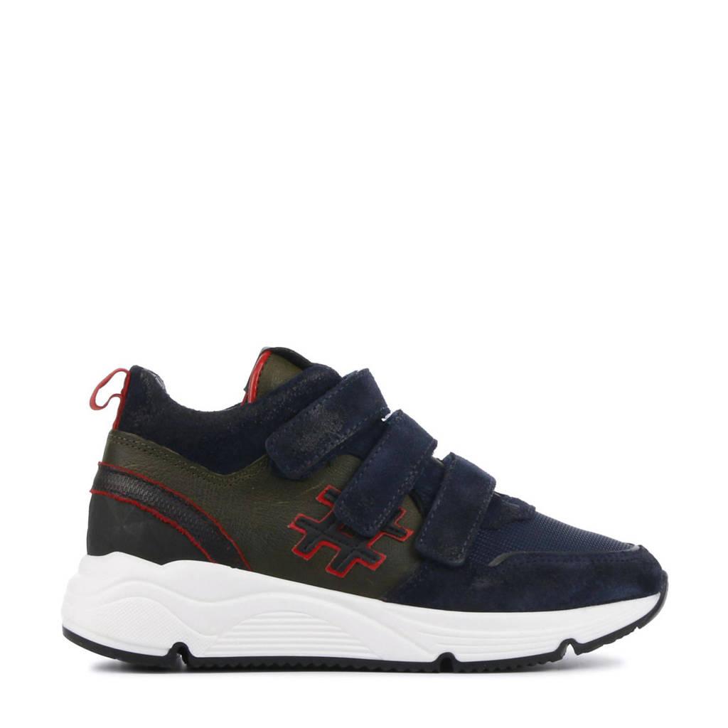 Hip H1929  suède sneakers donkerblauw, Blauw/multi