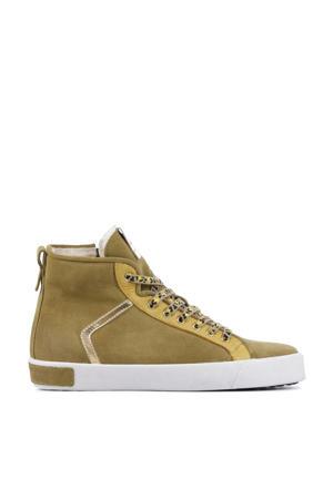 UL74  hoge suède sneakers camel