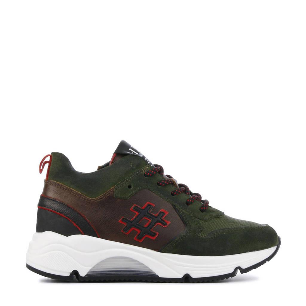 Hip H1928  suède sneakers donkergroen, Donkergroen/rood