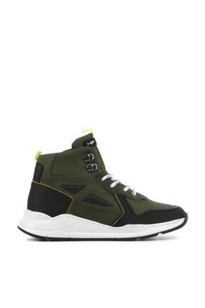 H1916  hoge leren sneakers groen