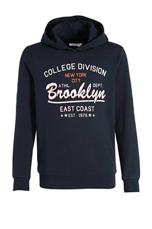 hoodie Wobby met logo donkerblauw/wit/oranje