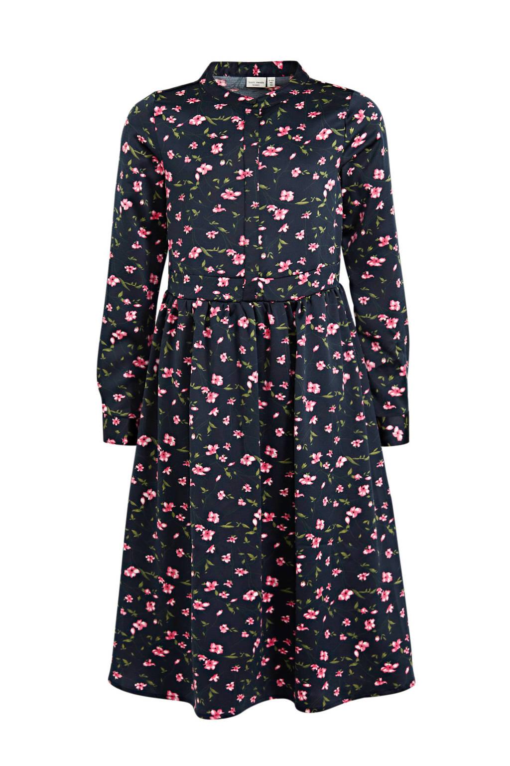 NAME IT KIDS maxi jurk Kaya met all over print en plooien donkerblauw/roze/groen