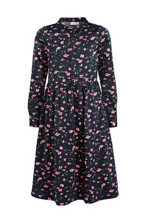 maxi jurk Kaya met all over print en plooien donkerblauw/roze/groen