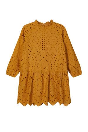 jurk Nalla met plooien okergeel
