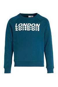 NAME IT KIDS sweater Wion met tekst blauw/wit, Blauw/wit