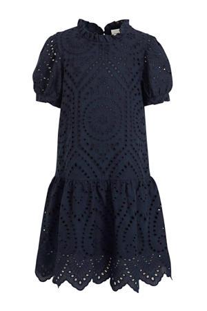 jurk Denisa met ruches donkerblauw