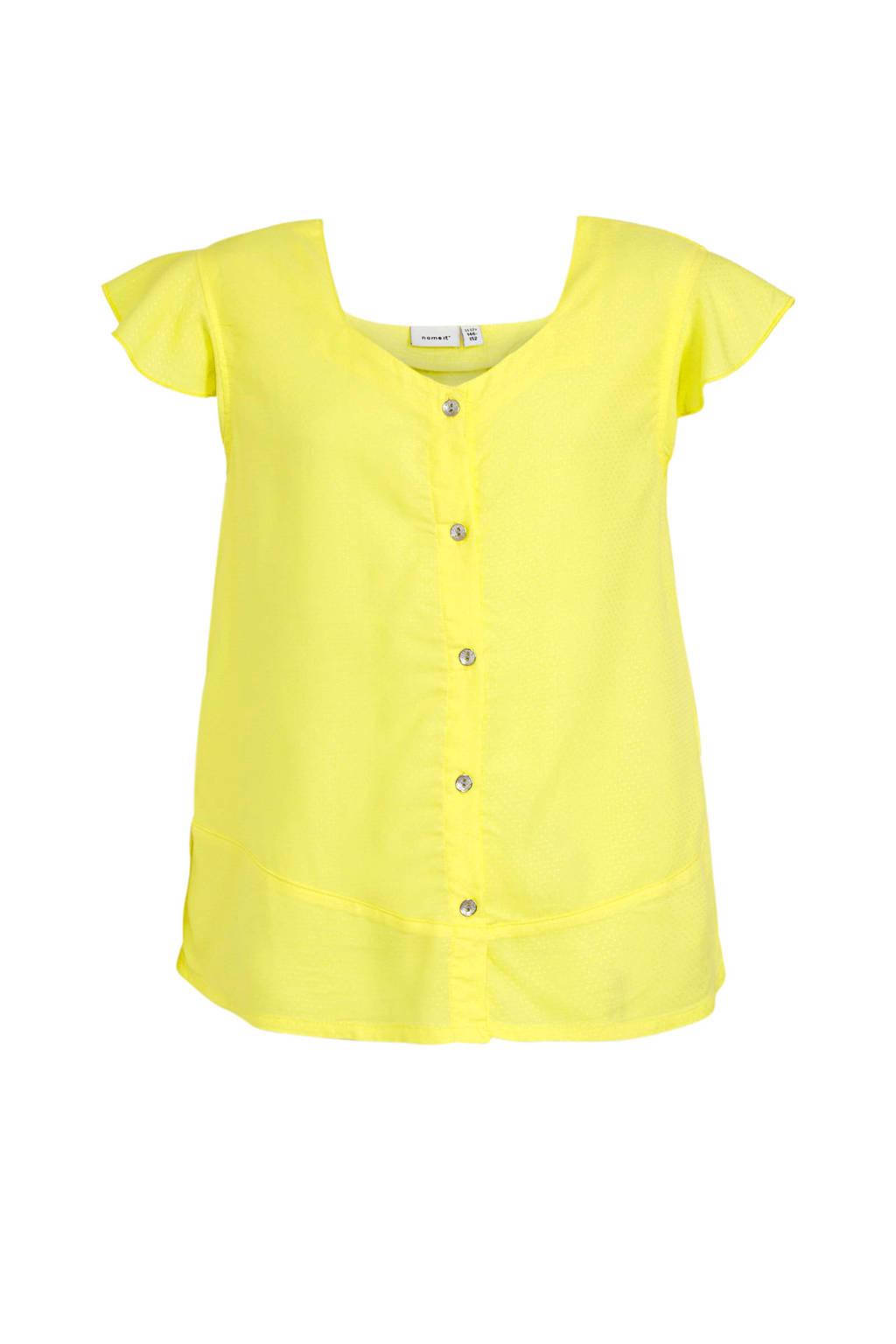 NAME IT KIDS T-shirt Haysha met ruches geel, Geel