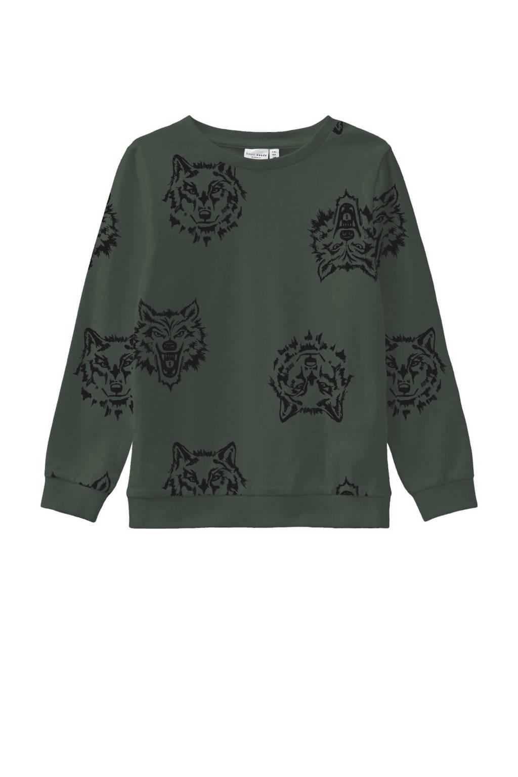 NAME IT KIDS sweater Wimon met dierenprint groen, Groen