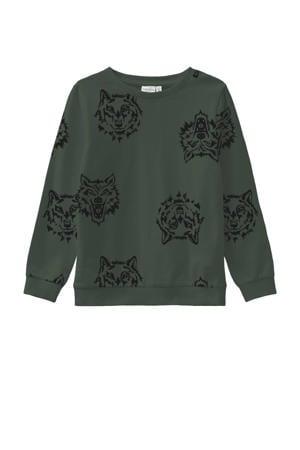 sweater Wimon met dierenprint groen