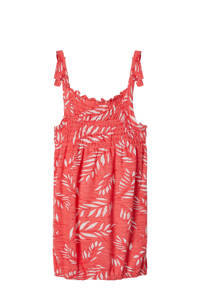 NAME IT KIDS singlet Jiselle met all over print en ruches koraalrood, Koraalrood