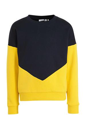 sweater Wioletta geel/donkerblauw