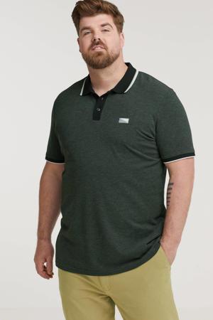 +size gemêleerde regular fit polo Plus Size donkerblauw