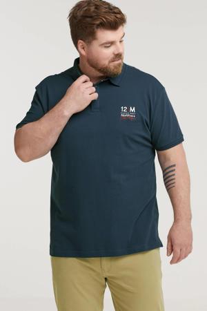 +size regular fit polo Plus Size met printopdruk donkerblauw