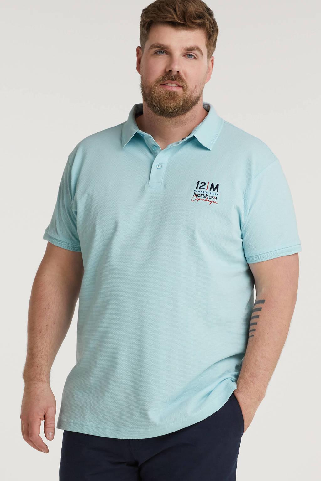 North 56°4 +size regular fit polo Plus Size met printopdruk lichtblauw, Lichtblauw