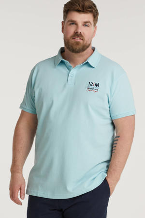 +size regular fit polo Plus Size met printopdruk lichtblauw