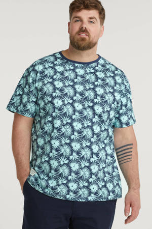 +size T-shirt met all over print blauw