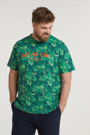 +size T-shirt met all over print groen