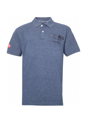 +size regular fit polo met tekst blauw