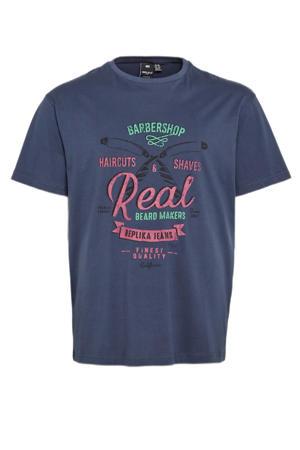 +size T-shirt met printopdruk donkerblauw