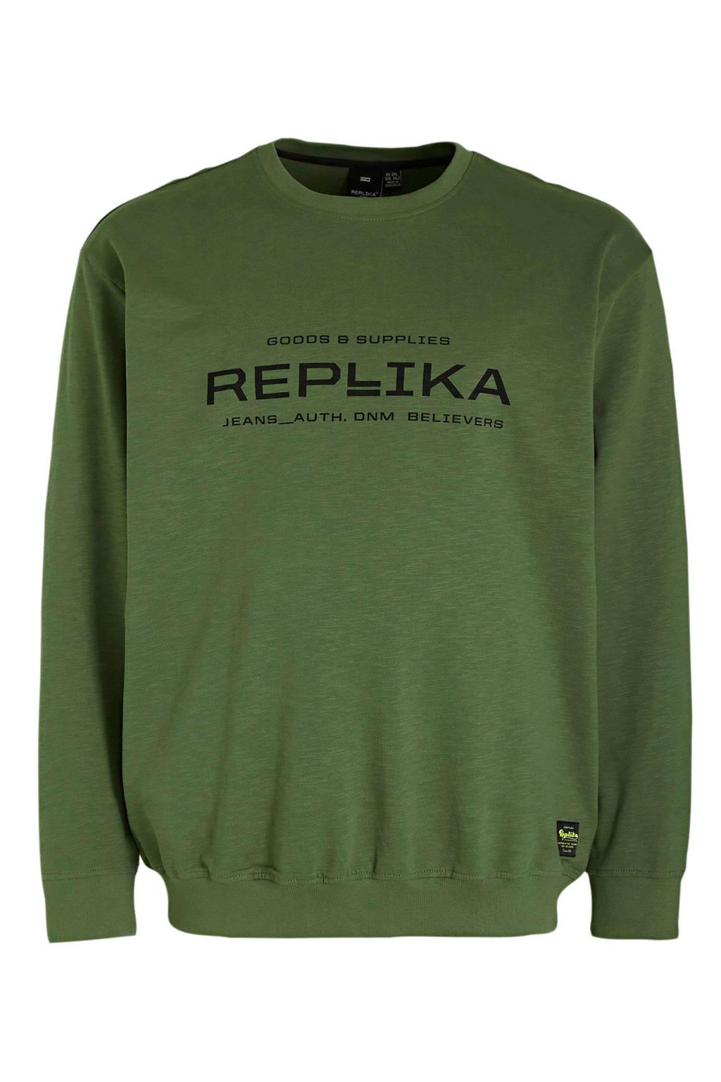 Replika +size sweater met logo lichtgroen, Lichtgroen