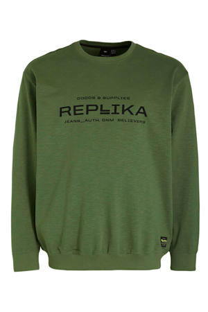 +size sweater met logo lichtgroen