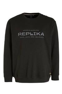 Replika +size sweater met logo zwart, Zwart