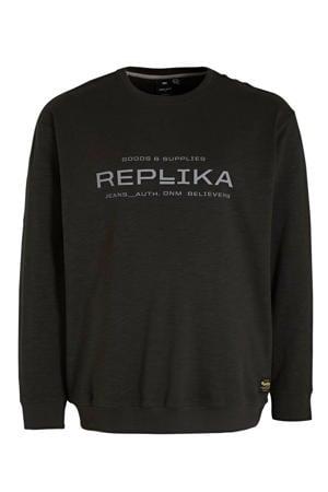 +size sweater met logo zwart